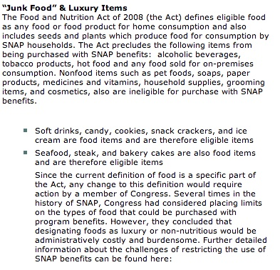 List of eligible food stamp items that you can purchase using your Florida EBT card